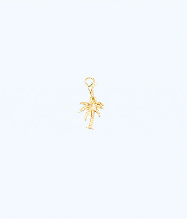 Removable Palm Tree Zipper Pull, Gold Metallic, large