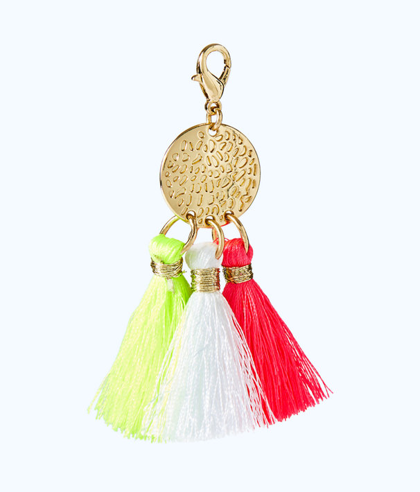 Removable Triple Tassel Disc Zipper Pull, Pink Sunset, large