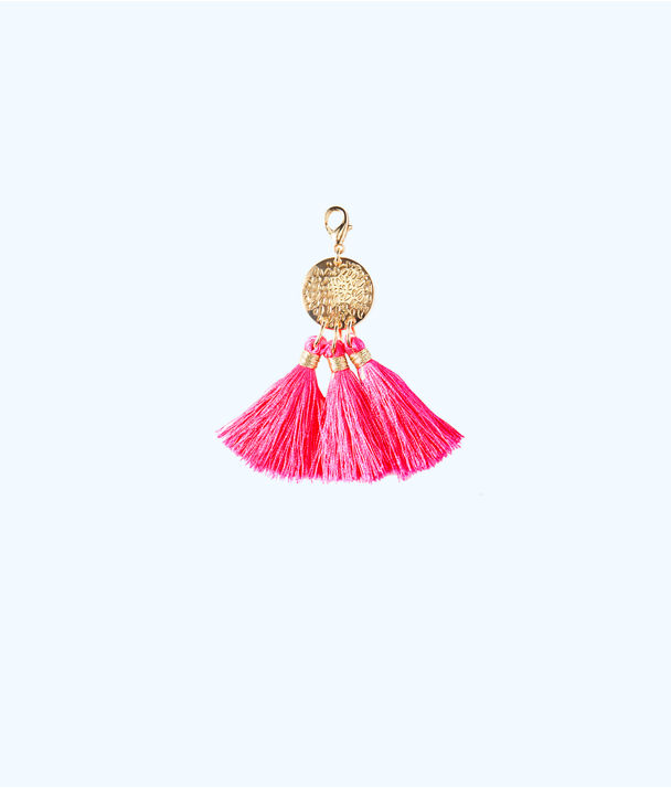 Removable Triple Tassel Disc Zipper Pull, Raz Berry, large
