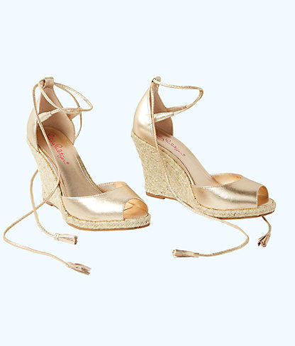 Aleena Wedge, Gold Metallic, large