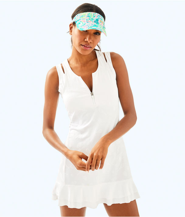 UPF 50+ Luxletic Delphina Tennis Dress, Resort White Perfect Match Jacquard, large