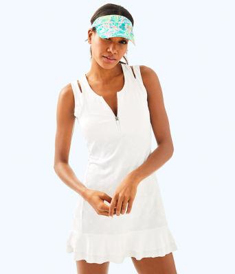 UPF 50+ Luxletic Delphina Tennis Dress, Resort White Perfect Match Jacquard, large 0