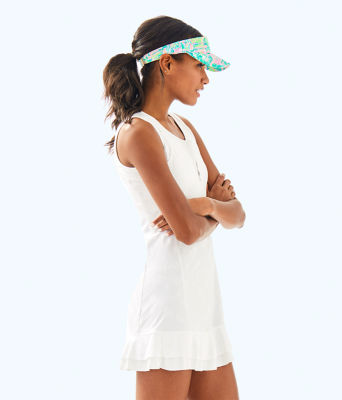 UPF 50+ Luxletic Delphina Tennis Dress, Resort White Perfect Match Jacquard, large 3