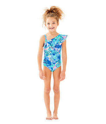 UPF 50+ Girls Joni Swimsuit, Bennet Blue Celestial Seas, large
