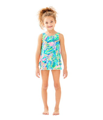 UPF 50+ Girls Little Lilly Swim Dress, Bennet Blue Surf Gypsea Swim, large
