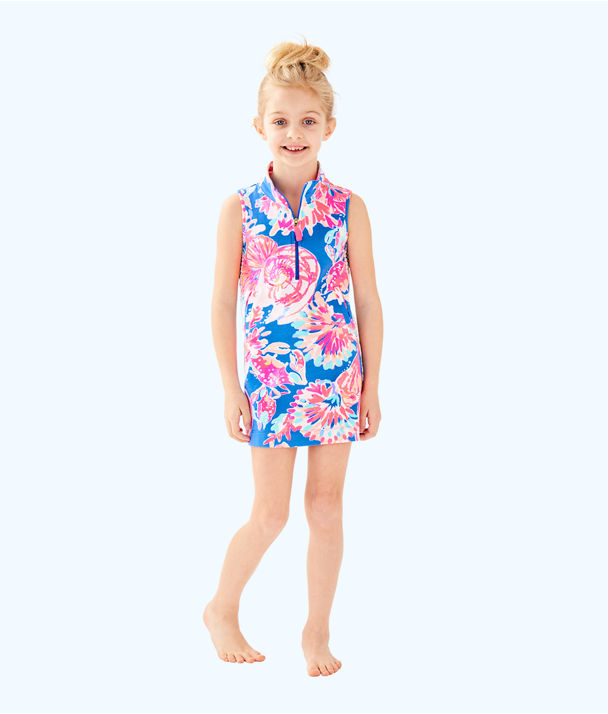 Girls Mini Sleeveless Skipper Shift Dress, Bennet Blue Bay Dreamin, large