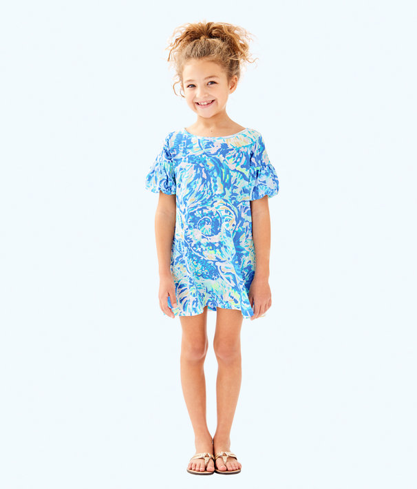 Girls Mini Lindell Dress, Bennet Blue Salty Seas, large