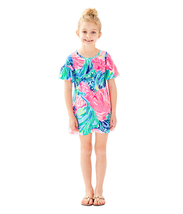 Girls Mini Lindell Dress, Multi Beach Please, large
