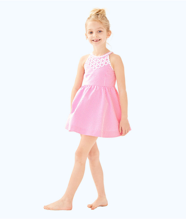 Girls Kinley Dress, Pink Cosmo Yarn Dyed Stripe Seersucker, large