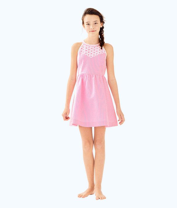 Girls Kinley Dress, Pink Cosmo Yarn Dyed Stripe Seersucker, large