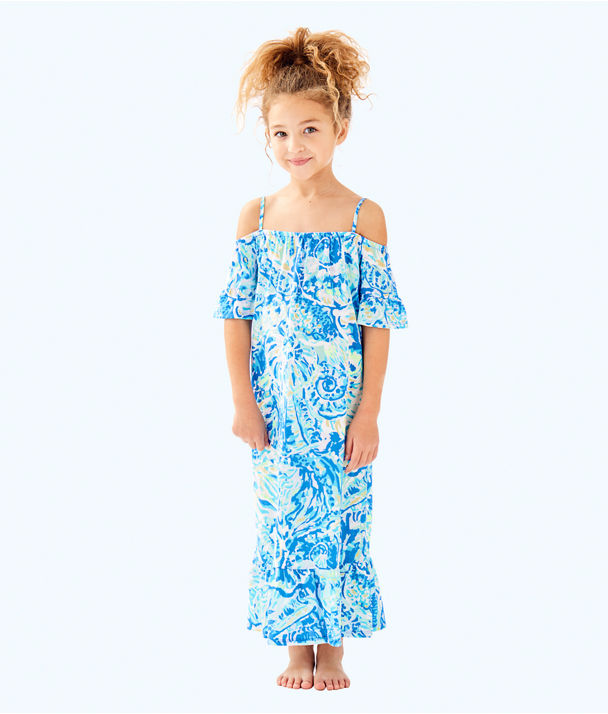Girls Clary Maxi Dress, Bennet Blue Salty Seas, large
