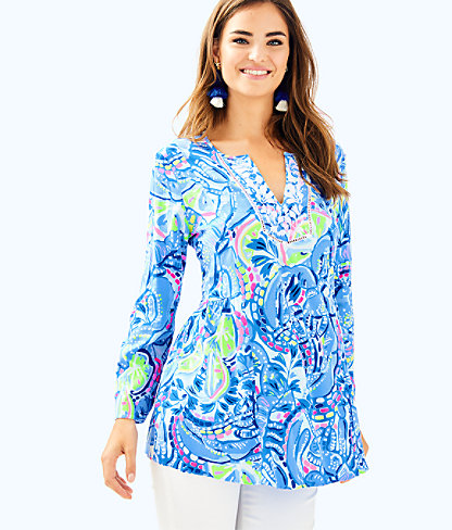 Lyndsea Tunic, Blue Peri Pinch Pinch, large