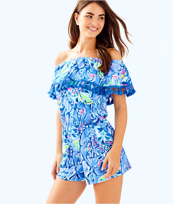 La Fortuna Off The Shoulder Romper, Blue Peri Pinch Pinch, large