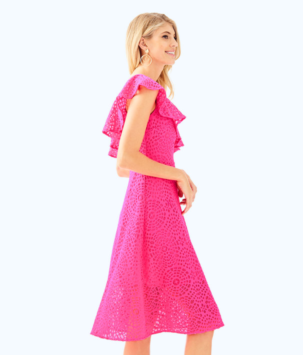 Callisto Dress, Pink Cosmo Sea Urchin Terry Lace, large