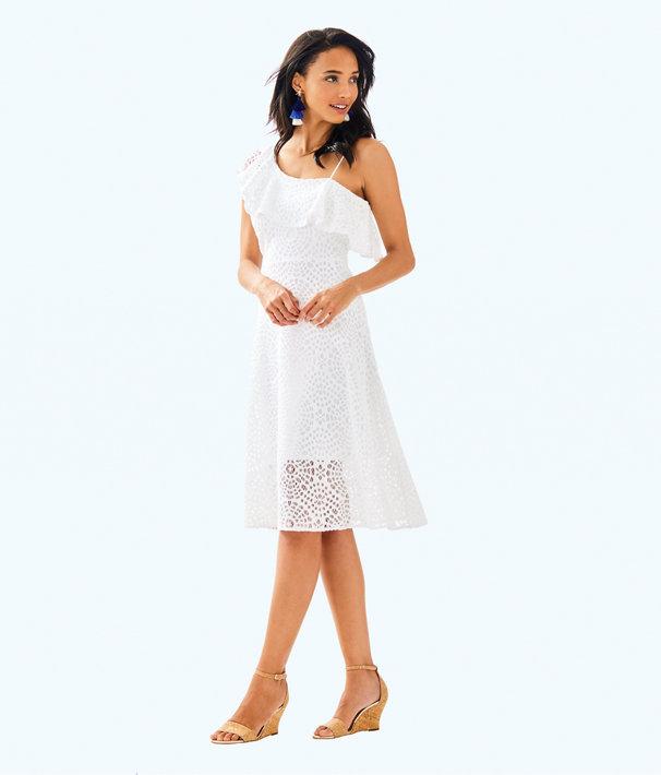 Callisto Dress, Resort White Sea Urchin Terry Lace, large