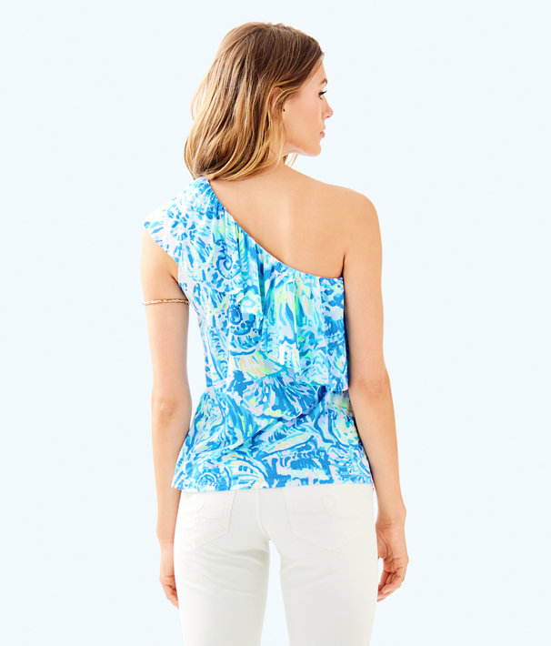 Matteo One Shoulder Top, Bennet Blue Salty Seas, large