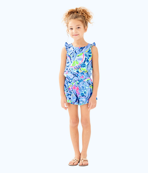 Girls Azel Romper, Blue Peri Pinch Pinch, large
