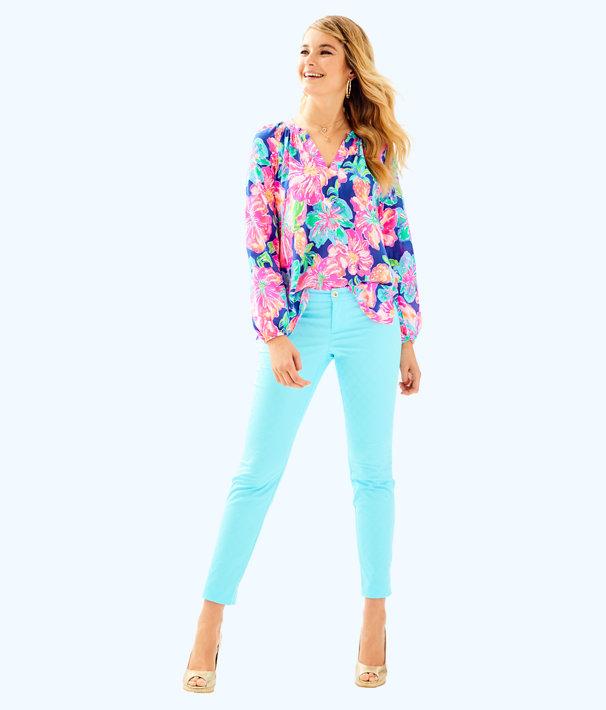 "29"" Kelly Textured Ankle Length Skinny Pant, Seasalt Blue, large"