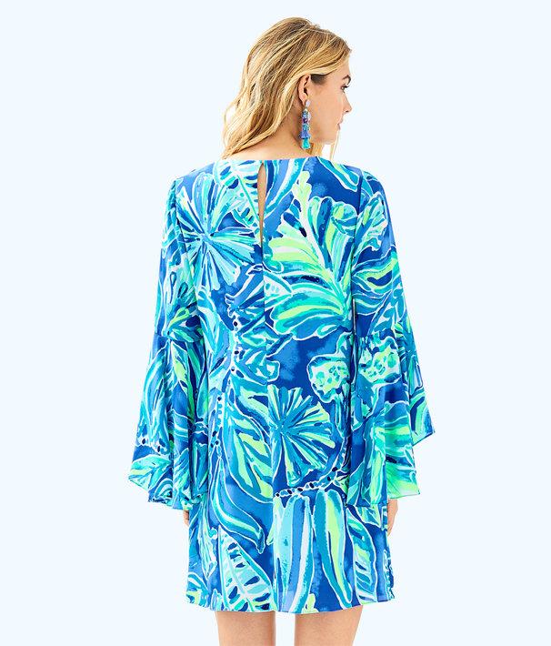 Rosalia Dress, Beckon Blue Palm Passage, large