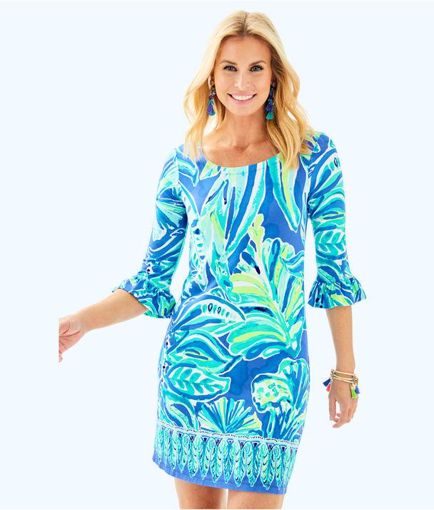 UPF 50+ Sophie Ruffle Dress, Beckon Blue Palm Passage Engineered Dress, large