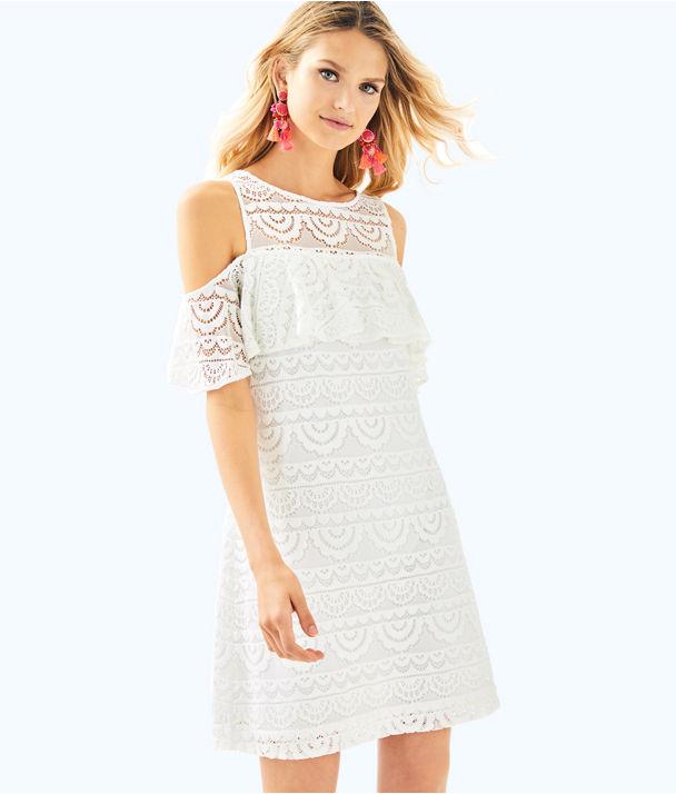 Lyra Dress, Resort White Scalloped Stripe Lace, large