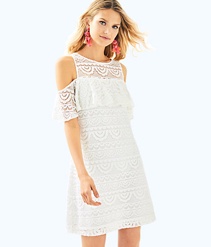 Lyra Dress, Resort White Scalloped Stripe Lace, large