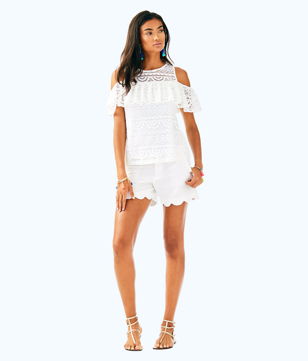 Lyra Top, Resort White Scalloped Stripe Lace, large