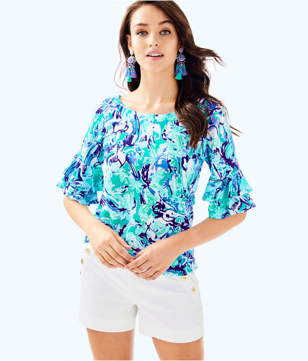 Lula Top, Tropical Turquoise Elephant Appeal, large