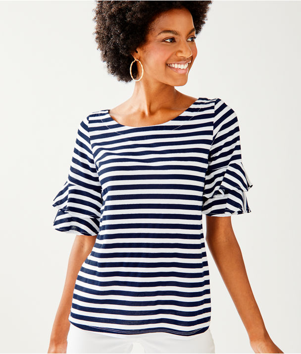Lula Top, True Navy Pop Up Safari Stripe, large