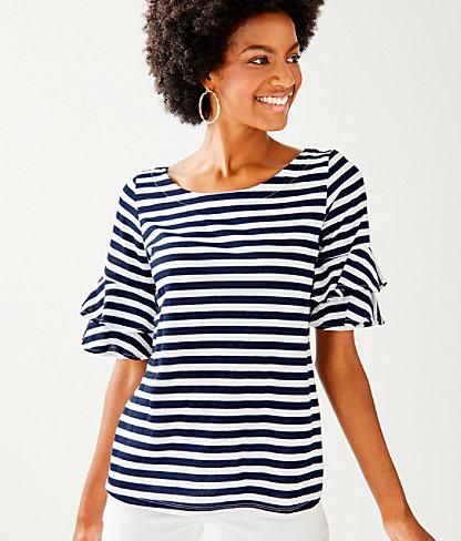 Lula Top, True Navy Pop Up Safari Stripe, large