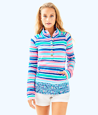 UPF 50+ Captain Popover, Multi Sandy Shell Stripe Engineered Top, large