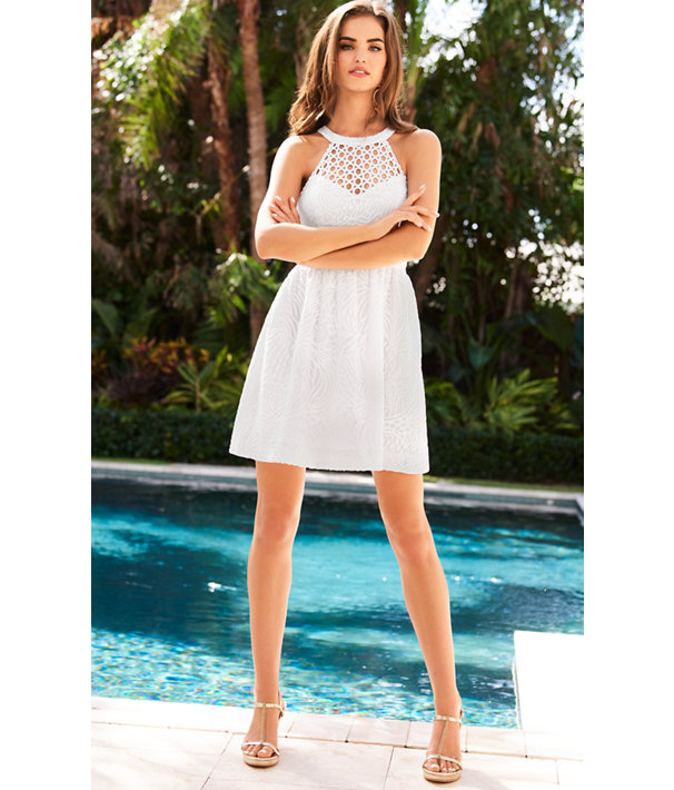 Kinley Dress, Resort White Tropical Fruit Lace, large