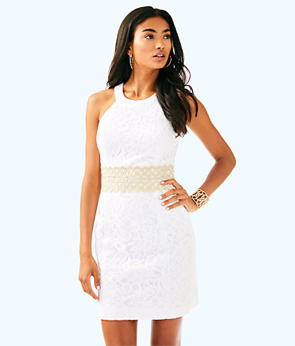 Ashlyn Shift Dress, Resort White Pop Floral Lace, large