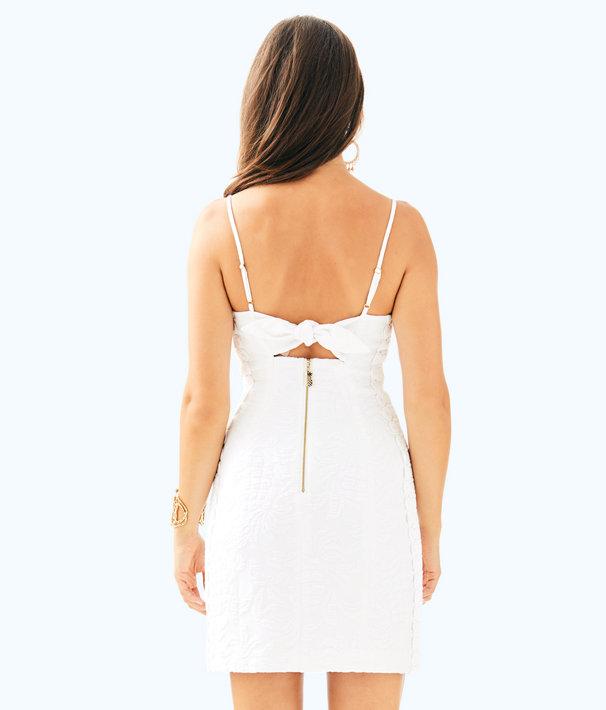 Shelli Stretch Shift Dress, Resort White Pineapple Jacquard, large