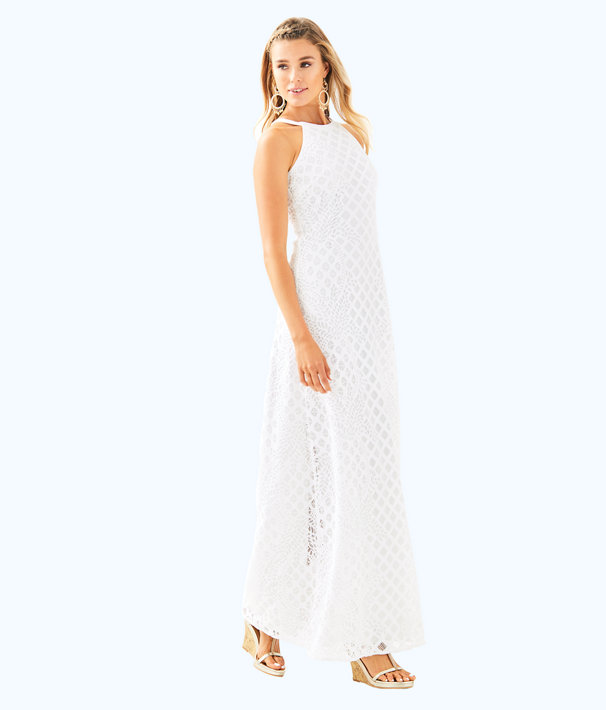 Pearl Maxi Dress, Resort White Pineapple Geo Lace, large