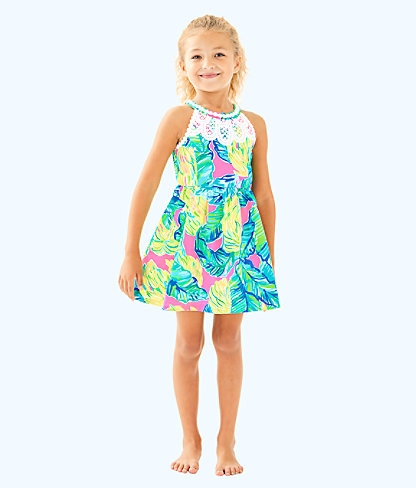 Girls Little Kinley Dress, Pink Sunset Local Flavor, large