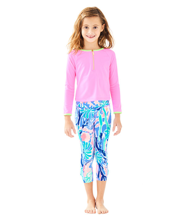 UPF 50+ Luxletic Girls Mini Sydney Sunguard, Pink Sunset, large