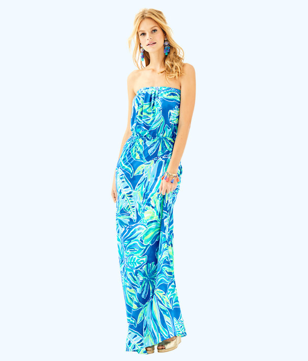 Marlisa Maxi Dress, Beckon Blue Palm Passage, large