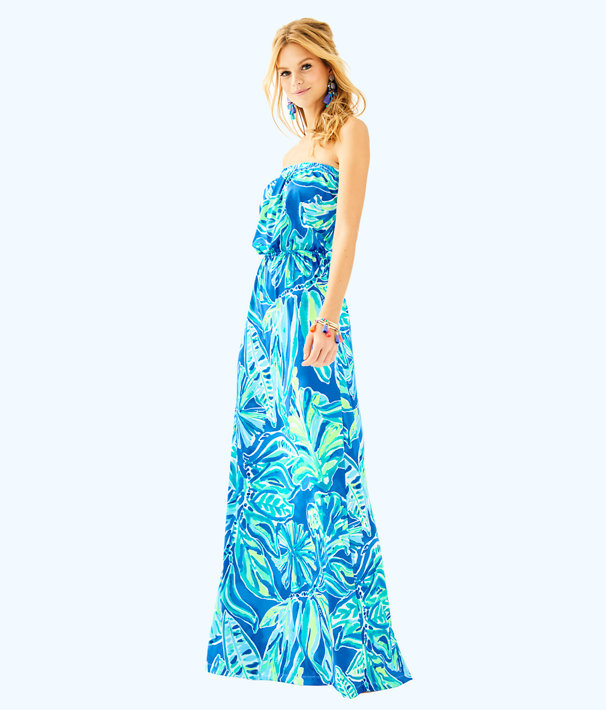 Marlisa Maxi Dress, Beckon Blue Palm Passage, large