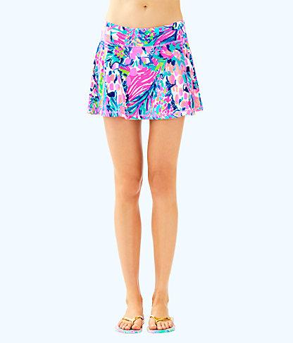 UPF 50+ Luxletic Aila Meryl Nylon Skort, Multi Gumbo Limbo, large