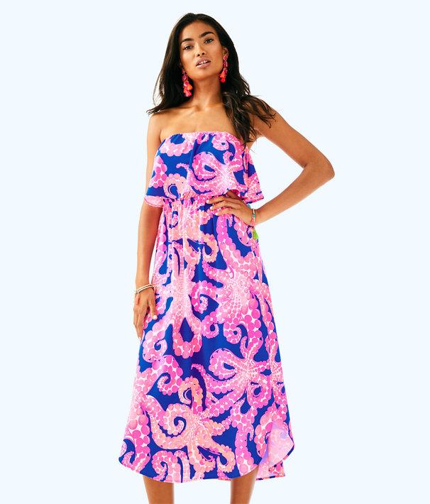 Meridian Midi Dress, Ikat Blue Mocean, large
