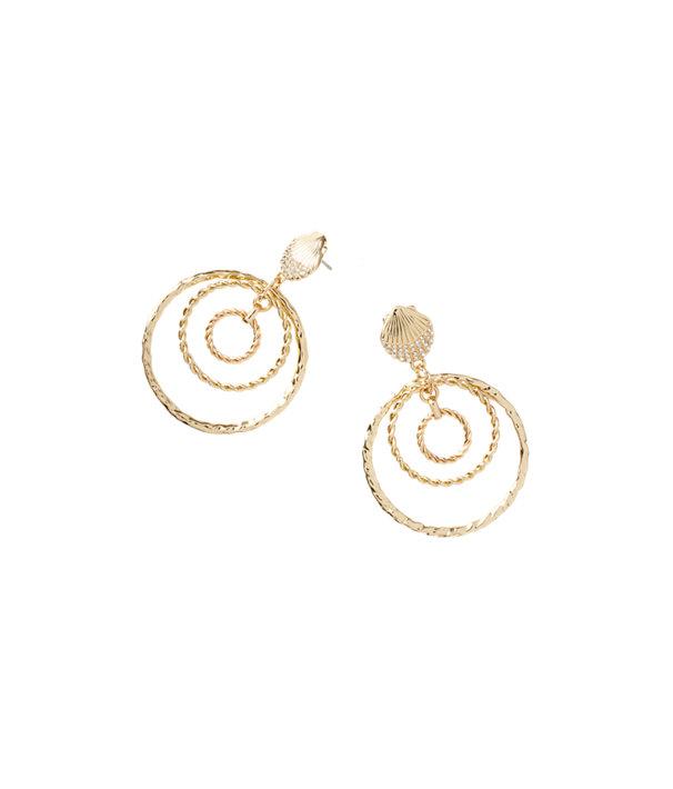 Celestial Seas Earring, Gold Metallic, large