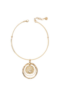 Sandy Coin Necklace, Gold Metallic, large