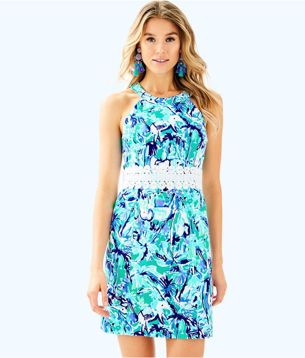 Ashlyn Shift Dress, Tropical Turquoise Elephant Appeal, large