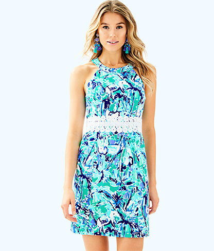 Ashlyn Shift Dress, Tropical Turquoise Elephant Appeal, large