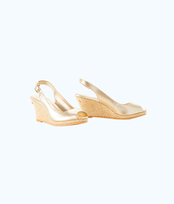 Gigi Wedge, Gold Metallic, large