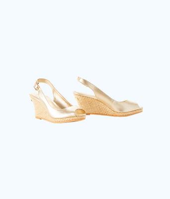 Gigi Wedge, Gold Metallic, large 0