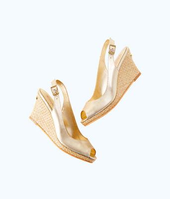 Gigi Wedge, Gold Metallic, large 2