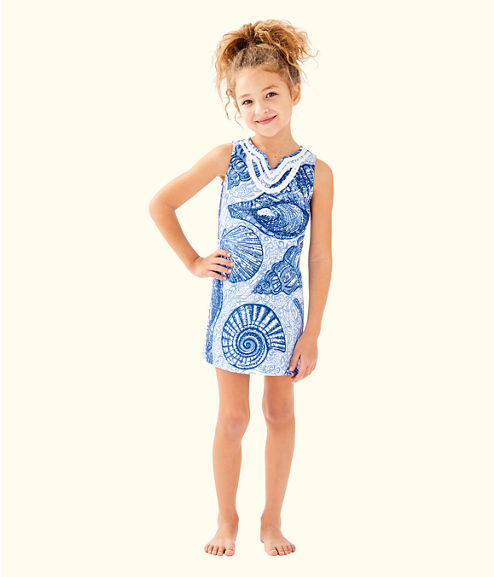 Girls Mini Harper Shift, Blue Peri Pop Up Stuffed Shells, large