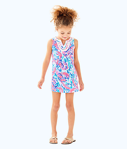 Girls Mini Harper Shift, Cosmic Coral Cracked Up, large